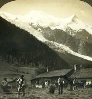 Suisse Recolte De Foins Vallée De Chamonix Ancienne Photo Stereo Stereoscope ASC 1900 - Stereoscopic