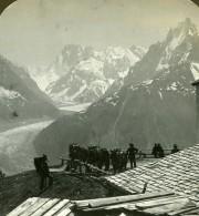 Suisse Grandes Jorasses & Mer De Glace Ancienne Photo Stereo Stereoscope ASC 1900 - Stereoscopic