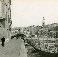 Italie Venise Pont Rialto Et Grand Canal Ancienne Stereo SIP Photo 1900 - Stereoscopic