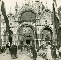 Italie Venise Les Portails De St Marc Le Dimanche Ancienne Stereo SIP Photo 1900 - Stereoscopic