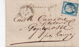 84Sm N°49 Lettre 1873 Sainte Hyppolite Du Fort (gard) à Peyreyrosse Gange (Hérault) Timbre Surchargé 3662 Cachet V° - Poststempel (Briefe)