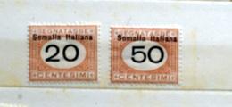 ITALIA SOMALIA 1909, SEGNATASSE CENT 20 E CENT 50 LIEVISSIMA TRACCIA LINGUELLA - Somalia