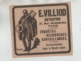 Publicité Villiod Détective Paris Enquêtes Recherches Surveillances Clé - Werbung