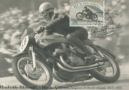 D32979 CARTE MAXIMUM CARD RR 1955 SAN MARINO - MOTOR RACING UMBERTO MASSETTI  ON MOTOR GILERA CP ORIGINAL - Motorbikes