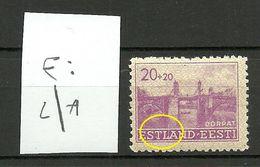 Estland Estonia 1941 Dt. Okkupation Wiederaufbau Michel 5 + ERROR Druckabart * - Occupation 1938-45