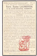 DP EZ Octavie Vermote - Zr. Laurentia ° Bekegem Ichtegem 1896 † Klooster Moorslede 1938 / Klooster Geluwe Wervik - Devotion Images