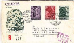 Arbres - Liechtenstein - Lettre Recom De 1959 - Oblit Schaan - Exp Vers Amarillo - Valeur 35 € +++ - Liechtenstein