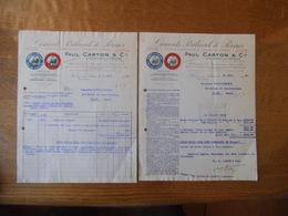 PERNES EN ARTOIS PAUL CARTON & Cie CIMENTS PORTLAND DE PERNES FACTURE ET RELEVE DE COMPTE DES 5 ET 18 AOUT 1930 - France