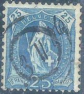 Stehende Helvetia 87A, 25 Rp.blau  ANNULIERUNGSSTEMPEL       1906 - Usati