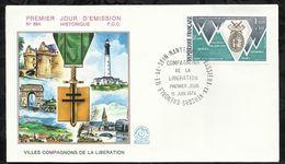 VILLES COMPAGNONS DE LA LIBERATION . 15 JUIN 1974 . ILE DE SEIN . NANTES . VASSIEUX EN VERCORS . GRENOBLE . PARIS . - FDC