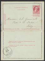 """EP Au Type 10ctm Rouge Obl Simple Cercle """"Herck La Ville"""" 06/11/1909 Vers Looz - Postwaardestukken"""