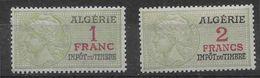 Algérie Fiscaux 1 Franc Et 2 Francs - Adhérences Sinon TB - Algerien (1924-1962)