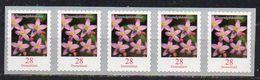 Deutschland Mi. 3094 Freimarke Blumen: Tausendgüldenkraut Aus 2018, Als 5er Streifen, Selbstklebend, Postfrisch - Nuevos
