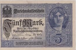 ALLEMAGNE 1917 DARLEHENSKASSENSCHEIN  5 MARK - [ 2] 1871-1918 : German Empire