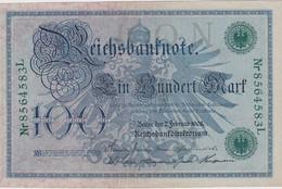 ALLEMAGNE 1908 REICHSBANKNOTE  100 MARK - [ 2] 1871-1918 : German Empire