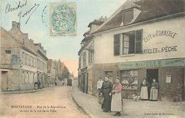 C-18- : 1742 : MONTATAIRE. RUE DE LA REPUBLIQUE ET RUE DE LA VILLE. CAFE DU COMMERCE NOYELLE. CARTE COLORISEE. - Montataire