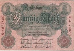 ALLEMAGNE 1910 REICHSBANKNOTE 50 MARK - [ 2] 1871-1918 : German Empire