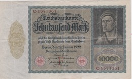 ALLEMAGNE 1922 REICHSBANKNOTE 10000 MARK - [ 3] 1918-1933 : République De Weimar