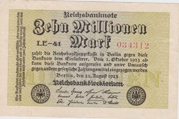 ALLEMAGNE 1923 REICHSBANKNOTE 10 MILLIONEN MARK - [ 3] 1918-1933 : Weimar Republic