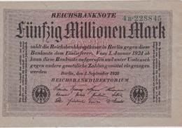 ALLEMAGNE 1923 REICHSBANKNOTE 50 MILLIONEN MARK - [ 3] 1918-1933: Weimarrepubliek