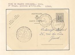 BUREAU DE POSTE AMBULANT AUTOMOBILE DU TOUR DE FRANCE CYCLISME ARRIVEE A LIEGE EN  1953 - Poststempels/ Marcofilie