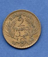 Tunisie  --  2  Francs 1921  --  Km # 248  -  état  TB - Tunisia