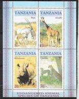 Tanzanie Bloc Feuillet N° 47 Espèces Menacées Rhino Girafe Oryx  Et Léopard Neuf * * TB = MNH VF Soldé ....... - Rhinozerosse