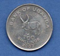 Ouganda  --  100 Shillings 2003--  Km # 67  -  état TTB+ - Ouganda