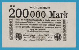 DEUTSCHES REICH 200.000 Mark 09.08.1923 No K10 P# 100  With Printer's Block - Otros