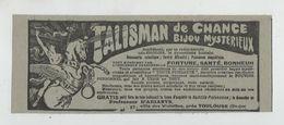 Publicité Talisman De Chance Bijou Mystérieux Arianys Villa Des Violettes Toulouse - Werbung
