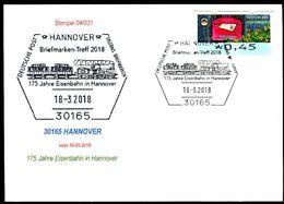 84009) BRD - SoST-Karte 04/031 - 30165 HANNOVER Vom 18.03.2018 - 175 Jahre Eisenbahn In Hannover, Dampfzug - [7] West-Duitsland