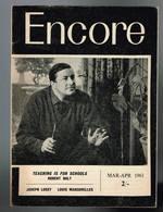 Encore - N° 2 - 1961 - Teaching Is For Schools Robert Bolt - Joseph Losey - 46 Pages 19,2 X 14 Cm - Livres, BD, Revues