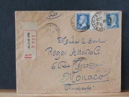 76/829  LETTRE FRANCE POUR MONACO R ECOMM.   1929 - 1922-26 Pasteur
