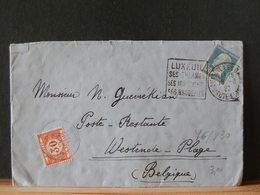 76/830  LETTRE FRANCE POUR LA BELG.  TAXEE + OBL. DAGUIN  1927 - 1922-26 Pasteur