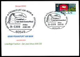 84018) BRD - SoST-Karte 05/043 - 60549 FRANKFURT A M Vom 29.03.2018 - Tukan-Kopf, FFM-San José Eröffnungsflug A340-300 - [7] West-Duitsland