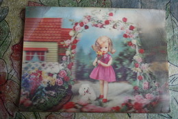 Little Girl DOLL With Poodle Dog  - OLD   Postcard 3D Stereo PC - Games & Toys