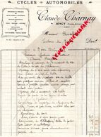 71- JONCY - RARE FACTURE CLAUDE CHARNAY- CYCLES AUTOMOBILES- VELO MOTO AUTO- 1932 - Cars