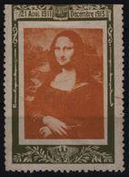 MONA LISA Painting - LABEL CINDERELLA VIGNETTE - MH / Damages - France 1913 - Arte