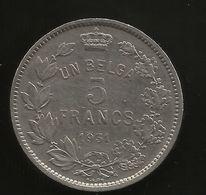 BELGIE/BELGIQUE - 5 FRANCS - Albert I (1931) AG - 1909-1934: Alberto I