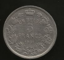 BELGIE/BELGIQUE - 5 FRANCS - Albert I (1931) AG - 1909-1934: Albert I