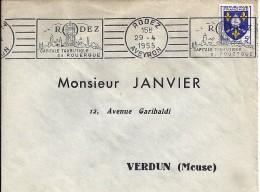 12 -  AVEYRON  -  RODEZ  -   RBV 3 LIGNES  -  1955  ROD117 - Annullamenti Meccaniche (Varie)