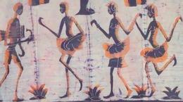 Batik Moderne (1990), Bamako, Mali , Afrique De L'Ouest : 150 Cm X 94 Cm - Tissu  Coton épais à Monter Sur Panneau Ou à - African Art