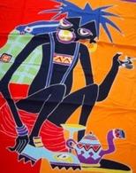 Batik Moderne (1990), Bamako, Mali , Afrique De L'Ouest : 150 Cm X 94 Cm - Tissu  Coton épais à Monter Sur Panneau Ou à - Art Africain