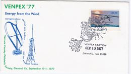 USA United States 1977 FDC VENPEX'77, Energy From The Wind, Windmill Turbine, Aerogenerator, Canceled In Oxnard, Plane - Sobre Primer Día (FDC)