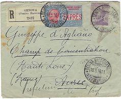 Lettre Pour Le Camp De Concentration à Aurec ( Hte Loire ) Adressé En Recommandé Par Express - Postmark Collection (Covers)