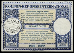 CALCUTTA REPLY COUPON 25.6.57 On INDIA INDE London Type XVIn  50 NAYE PAISE International Reponse Antwortschein IRC IAS - Briefe