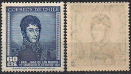 Chile 1951 ** YT229. SFC 502 Centenario Muerte San Martín. Filigrana 2. Escasa. - Cile