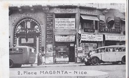 """Carte 1910 NICE / 2 PLACE MAGENTA (magasin """"les Beaux Voyages"""") - Nizza"""