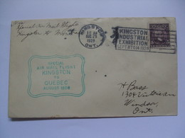 CANADA 1928 Special Air Mail Flight Cover - Kingston To Quebec - 1911-1935 George V