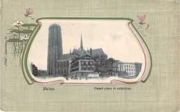 Belgique - Malines - Grand Place Et Cathédrale (encadré Floral Art-nouveau, Libellule Et Lotus) - Malines